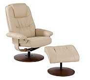 Kalidasa Taupe Leather Recliner and Ottoman - H348895