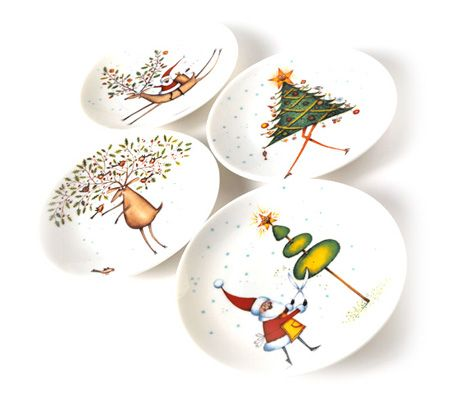 Royal worcester clare mackie assorted canape plates set for Linea carta canape plates