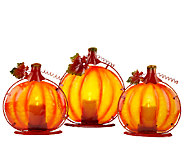 Set of 3 Illuminated Pumpkins w/Metal leaves by Valerie - H203596