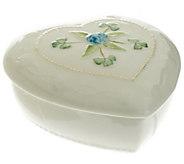 As Is Belleek Heart Keepsake Box with Flower Detail - H206696