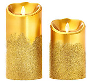Luminara Set of 2 5 & 7 Glitter Fade Flameless Candles w/Timer - H206796