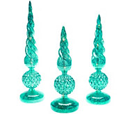 As Is Set of 3 Illuminated Mercury Glass Finials by Valerie - H207496