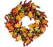 19 Leaves, Berry and Hydrangea Wreath - H209396