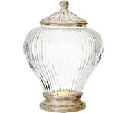 As Is 11 Illuminated Ribbed Glass Urn by Valerie - H210596