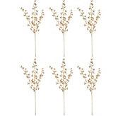 Set of 6 32 Glitter Leaf Picks by Valerie - H211896