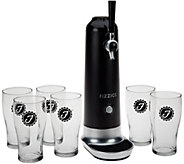 As Is Fizzics Beer to Draft Pouring System with 6 Glasses by Lori Greiner - H212696