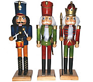 Set of 3 12 Natural Wood Nutcrackers by Santas Workshop - H288996
