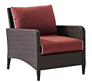 Crosley Kiawah Outdoor Wicker Arm Chair with Sangria Cushions - H289496