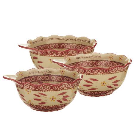 Temp Tations Old World Sentiments Set Of 3 Serving Bowls