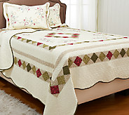 Montgomery Reversible FL/QN 100Cotton Quilt Set with Shams - H206097