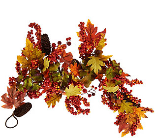 4' Leaves, Berry and Hydrangea Garland