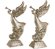 Set of 2 Antiqued Trumpeting Angels by Valerie - H211897