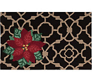 Waverly 21 x 33 Black Christmas Poinsettia Rug by Nourison - H293097