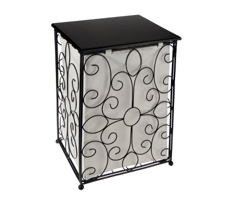 "25"" Scrollwork Hamper w/Removable Canvas Liner by Valerie"
