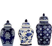Set of 3 Illuminated Porcelain Mini Urns by Valerie - H212598