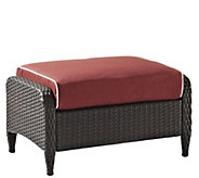 Crosley Kiawah Outdoor Wicker Ottoman with Sangria Cushions - H289498