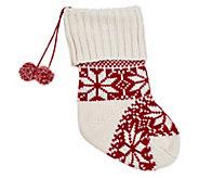 Berkshire Blanket Red/White Knit Stocking withPom-Poms - H294798