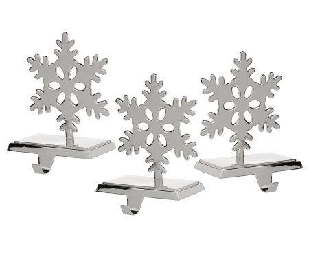 set of 3 snowflake stocking holders h00999. Black Bedroom Furniture Sets. Home Design Ideas
