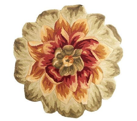 "Royal Palace 33"" x 33"" Grand Floral Die Cut Wool Rug - H199799"