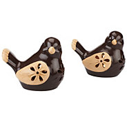 Set of 2 Lit Ceramic Pierced Birds by Valerie - H202199