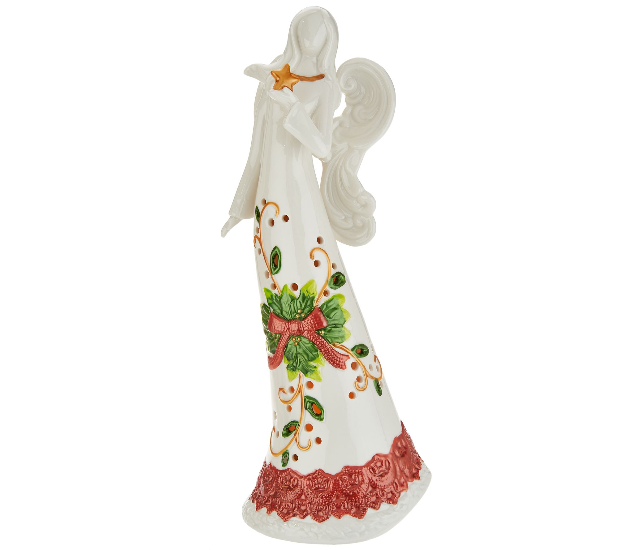"14"" Porcelain Holiday Angel with Flameless Candle by Home Reflections — QVC.com"