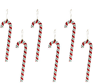 "Set of 6 13"" Candy Cane Ornaments by Valerie"
