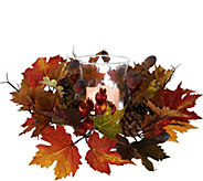 Flameless Candle Centerpiece w/ Leaves, Acorns and Berries - H209399
