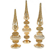 Set of 3 Jeweled Glass Finials by Valerie - H209499