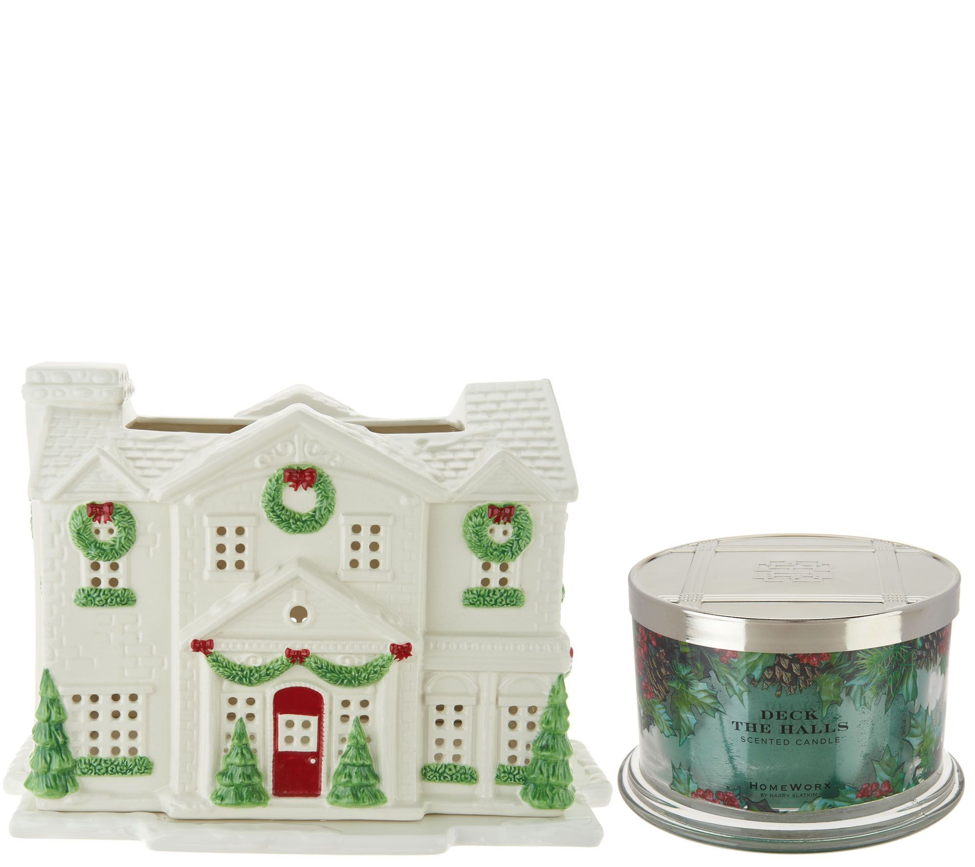 christmas in july sale shop everything christmas qvc com homeworx by harry slatkin gingerbread country house w 3 wick candle h211399