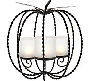 Metal Pumpkin Centerpiece w/ 3 Hurricanes and Tealights by Valerie - H211499