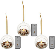 Luminara S/3 Blown Glass Ornaments with FlamelessCandle Auto-Delivery - H213699