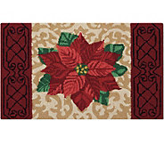 Waverly 21 x 33 Beige Christmas Poinsettia Rug by Nourison - H293099