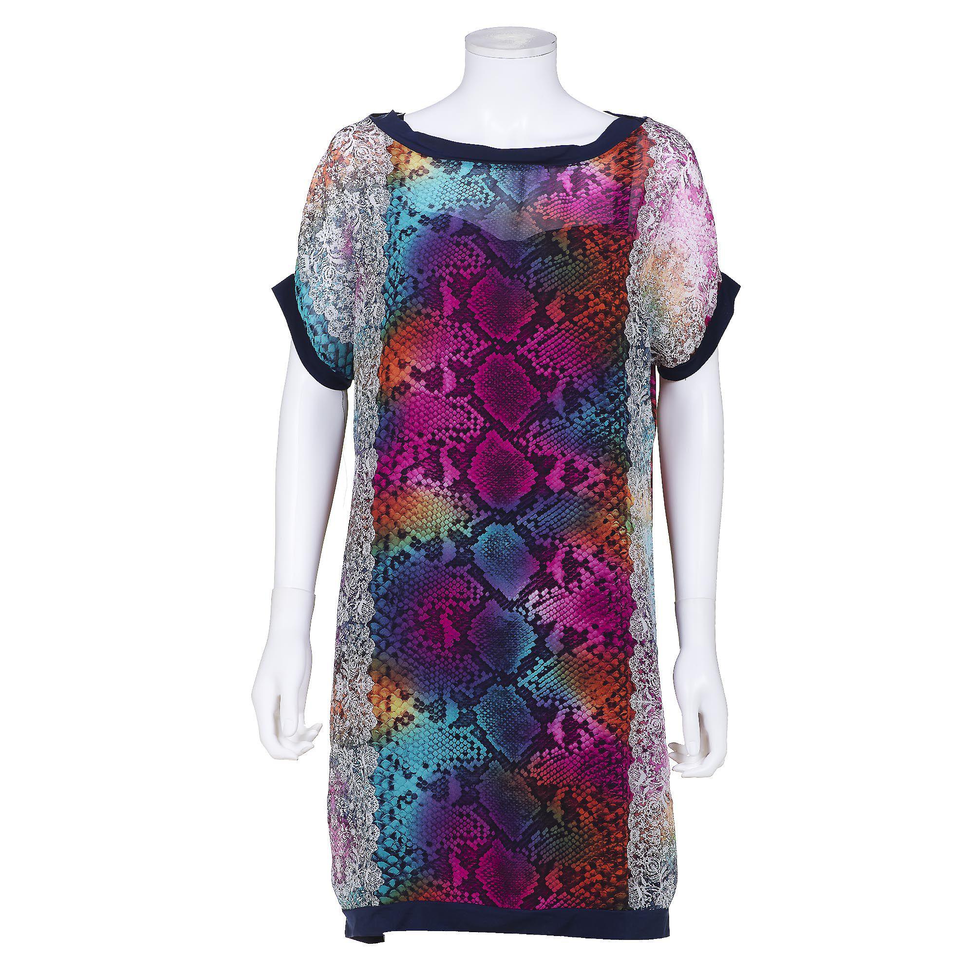 Officina della moda Completo abito fantasia con sottoabito svasato (2 pz)
