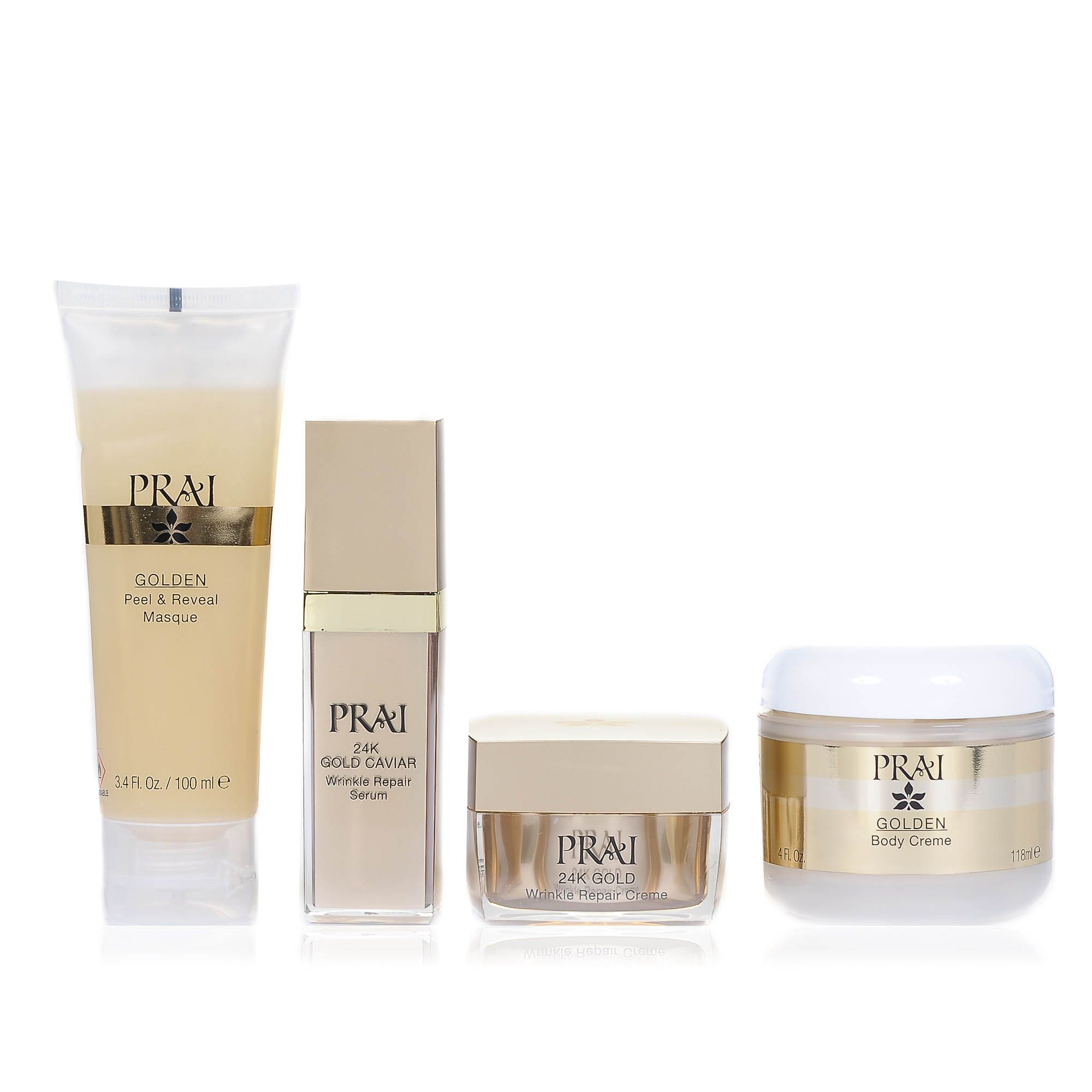 Prai 24K Gold Collection: kit siero, crema, maschera viso, crema corpo e borsa (4 pz)