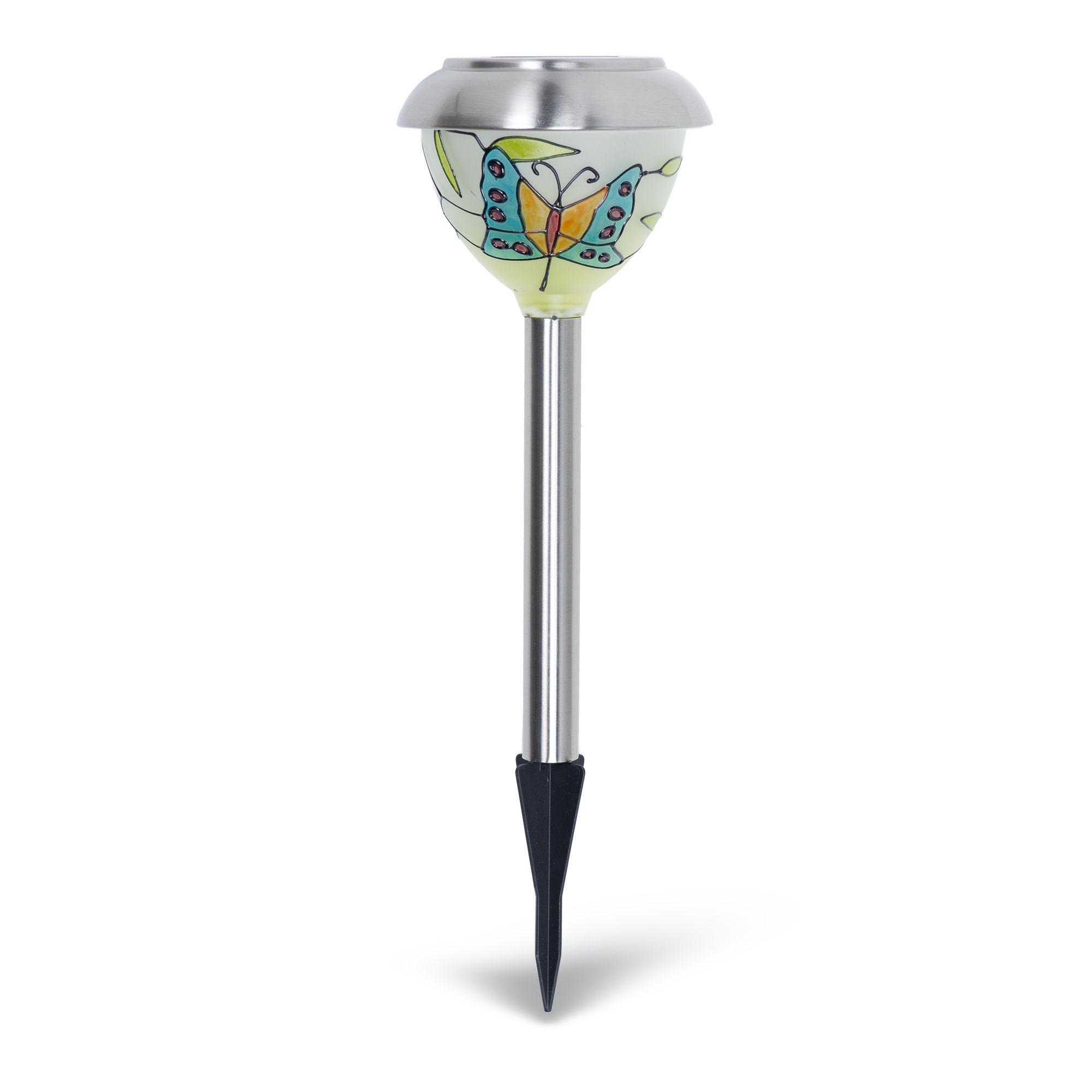 Luxform tiffany set lampade ad energia solare con vetro - Lampade da esterno ad energia solare ...