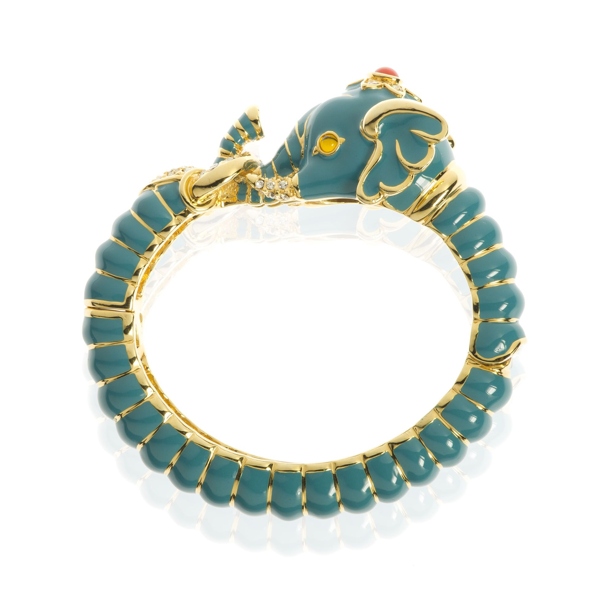 KJL by Kenneth Jay Lane Bracciale a elefante ottone placcato oro e smalto turchese