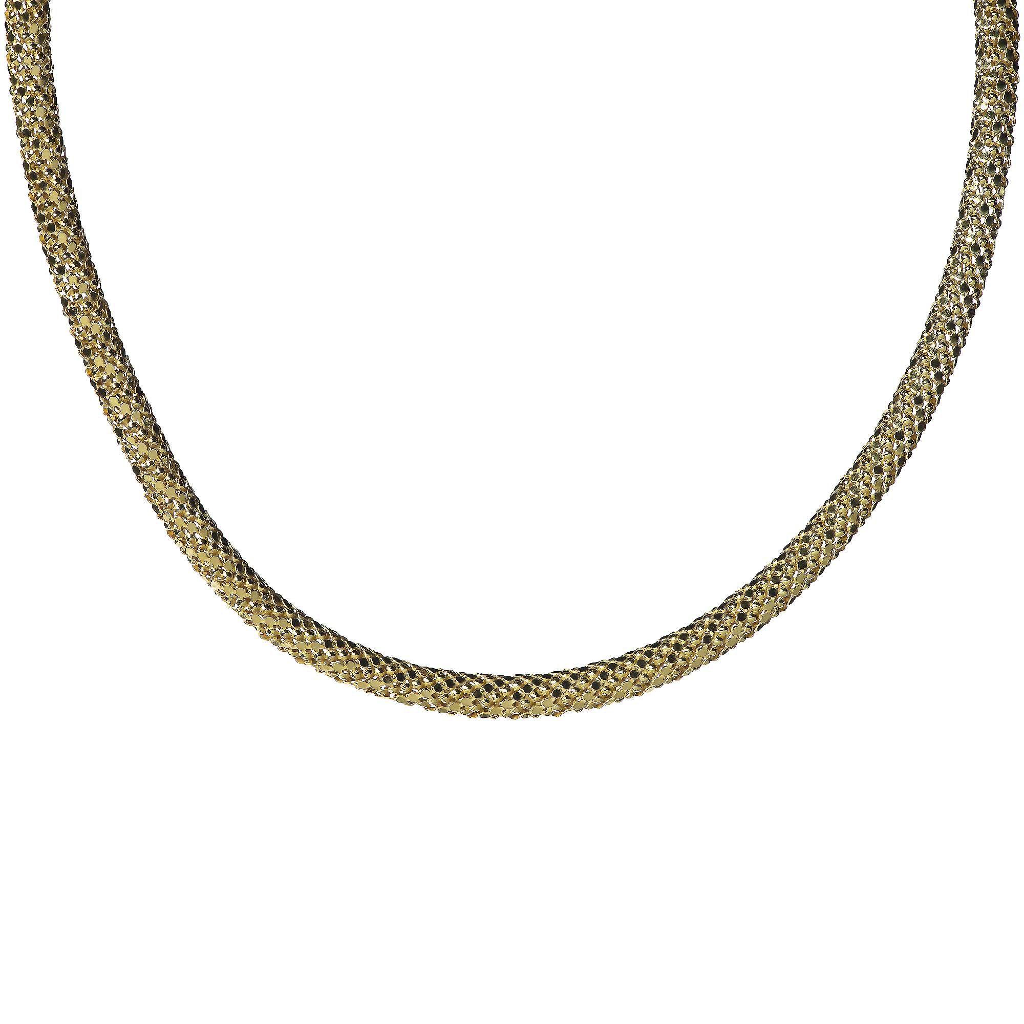 Veronese collana in argento 925 placcato oro maglia pop-corn
