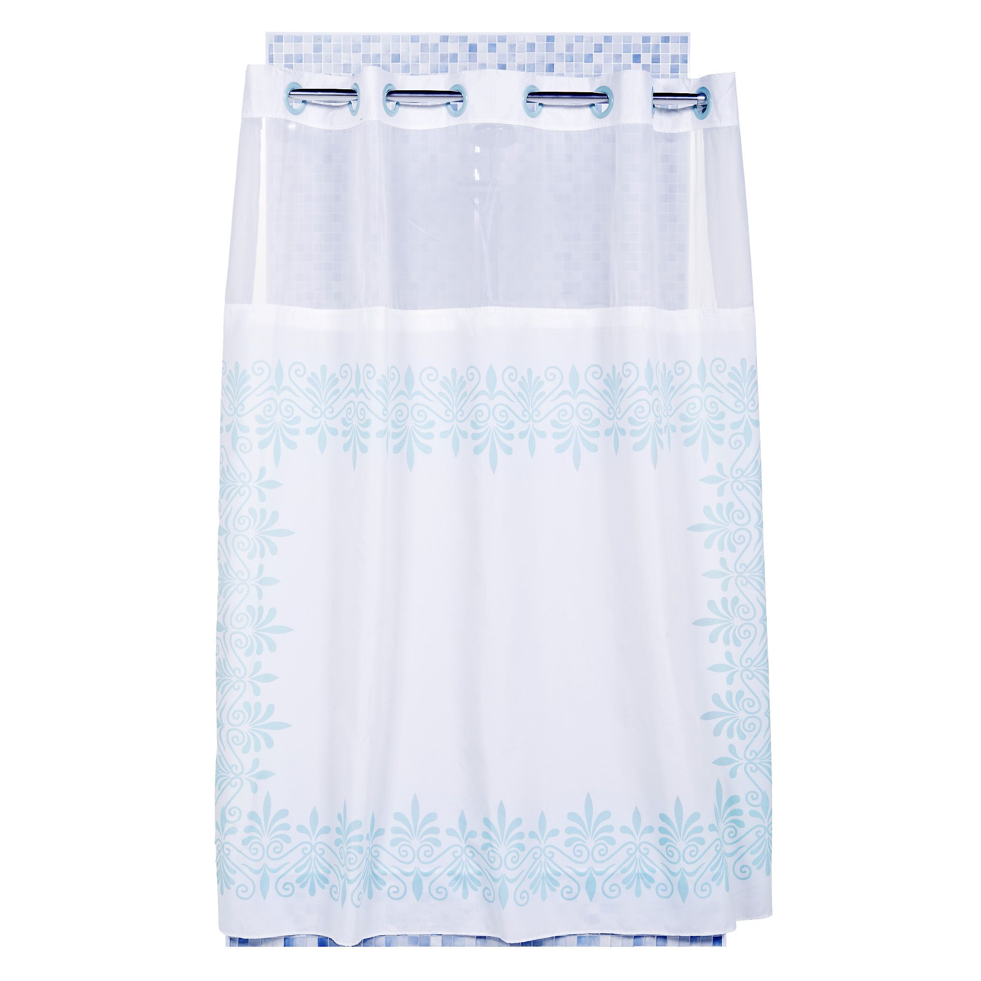 Hookless tenda per doccia senza ganci in tessuto con - Tende per doccia in tessuto ...