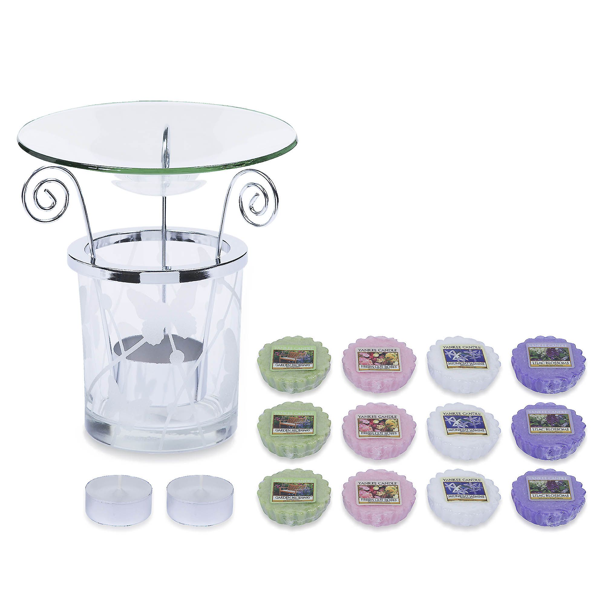 Yankee Candle Set brucia essenze: 1 bicchiere decorato, 12 essenze, 2 tealights
