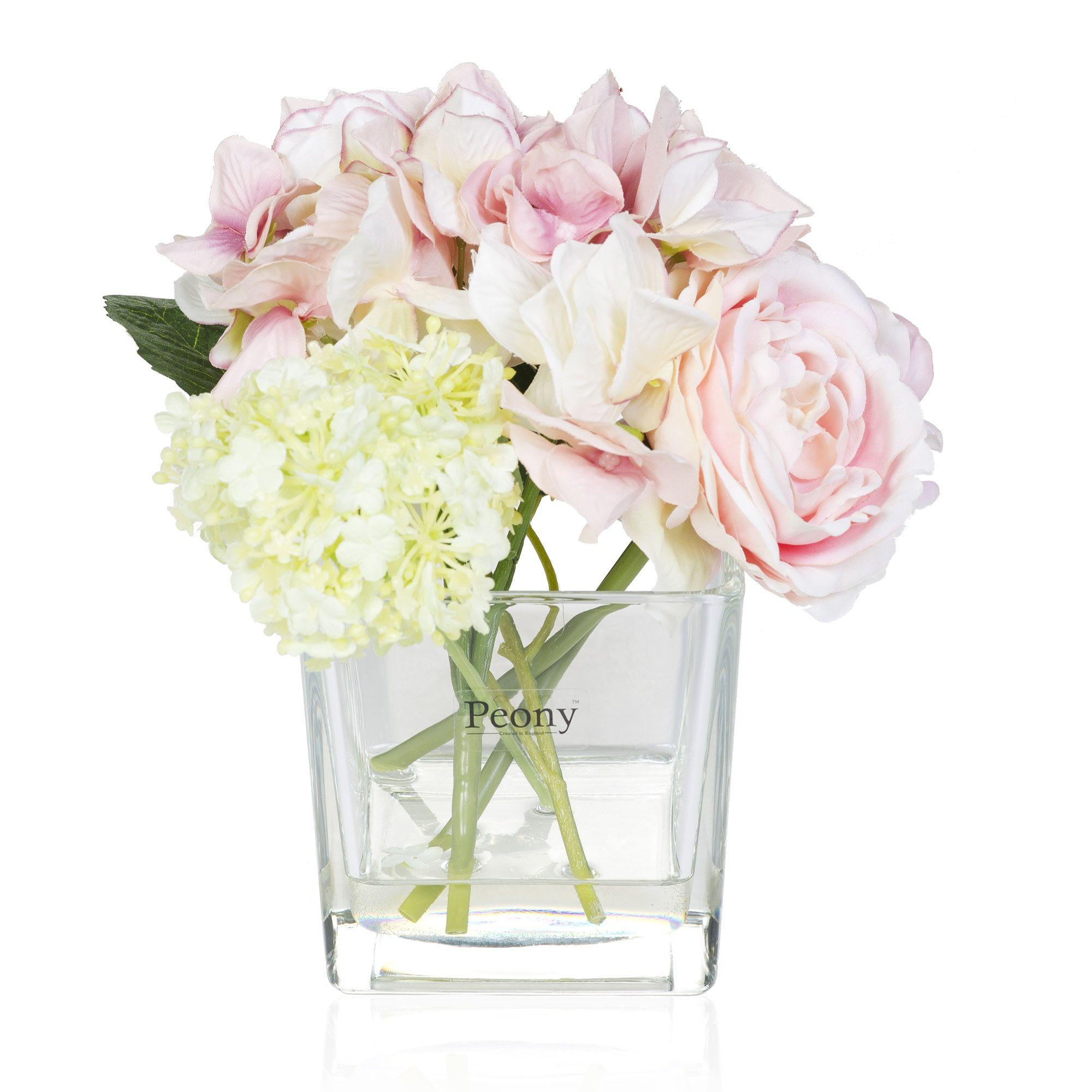 Rose ortensie e viburnio in vaso quadrato qvc italia for Ortensie in vaso