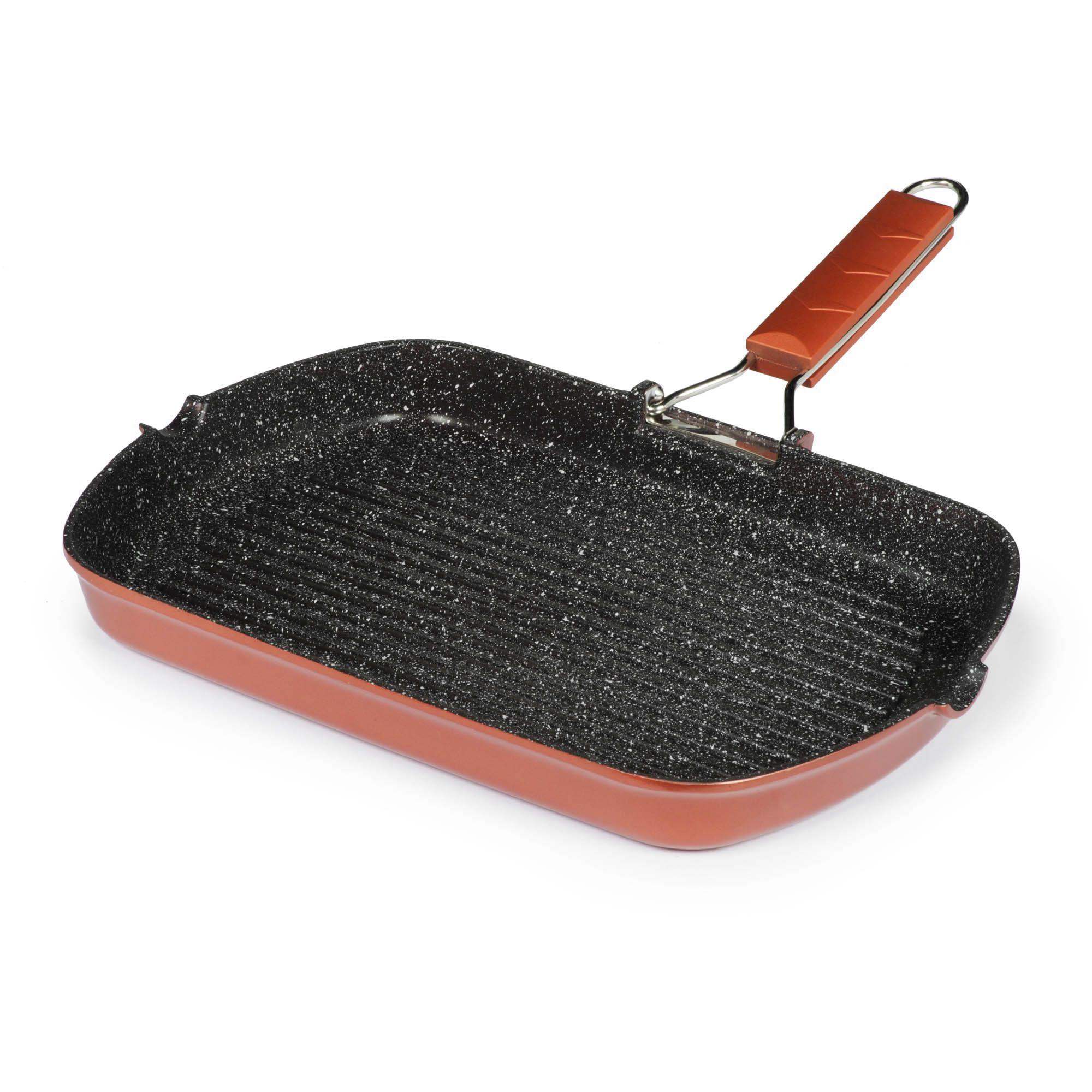 Bistecchiera antiaderente con manico pieghevole 34x24cm for Cucinare sinonimo