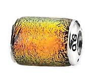 Prerogatives Sterling Orange Dichroic Glass Barrel Bead - J113400