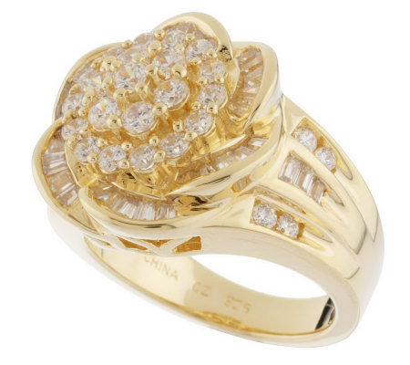 diamonique sterling or 14k gold clad baguette flower ring
