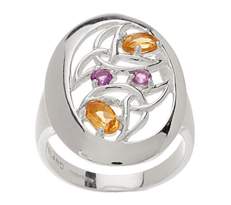 JMH Jewellery Sterling Silver Amethyst and Citrine Ring