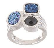 Shades of Blue Drusy Quartz and Onyx Gemstone Sterling Ring - J261900