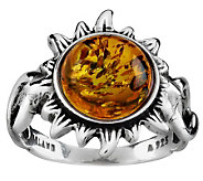 Artisan Crafted Sterling Baltic Amber Sunflower Ring - J267400