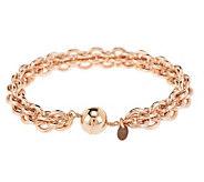 Bronze 7-1/4 Caged Link Magnetic Clasp Bracelet by Bronzo Italia - J275700