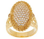 Judith Ripka 14K Gold Clad 1.30ct Pave Diamonique Cocktail Ring - J277200