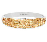 Stainless Steel Crystal Pave Concave Design Bangle - J283000