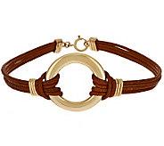 VicenzaGold Polished Circle Station Leather Bracelet 14K Gold - J284500
